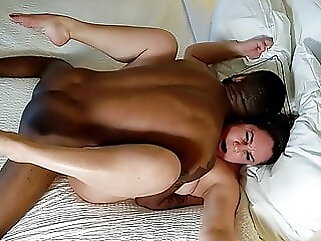 Wife fucks stranger's BBC, hubby joins for double creampie bbw amateur